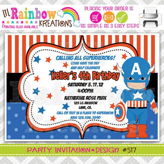 517: DIY  Super Hero 11 Party Invitation Or Thank You Card