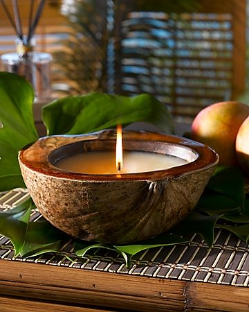 Coconut Candle Holder. My Mami showed me how to make bowls and cups from coconuts... wow