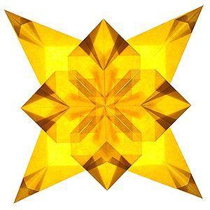 Transparent-Faltstern 4-4-zackig Goldgelb Durchmesser: 30cm  mit PDF-Faltanleitung  http://www.florian-janich.de/bastelanleitungen/faltsterne.htm