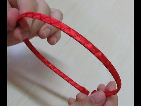 Como encapar tiara: modelo trançado simples - Como encapar tiara de metal - YouTube