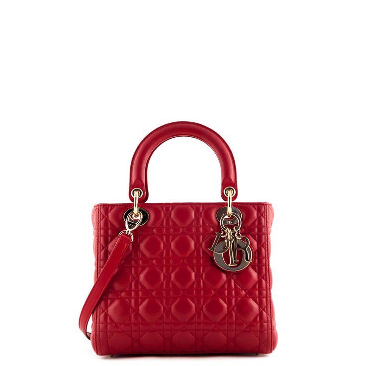 Dior Red Lambskin Medium Lady Dior - $3000 CAD