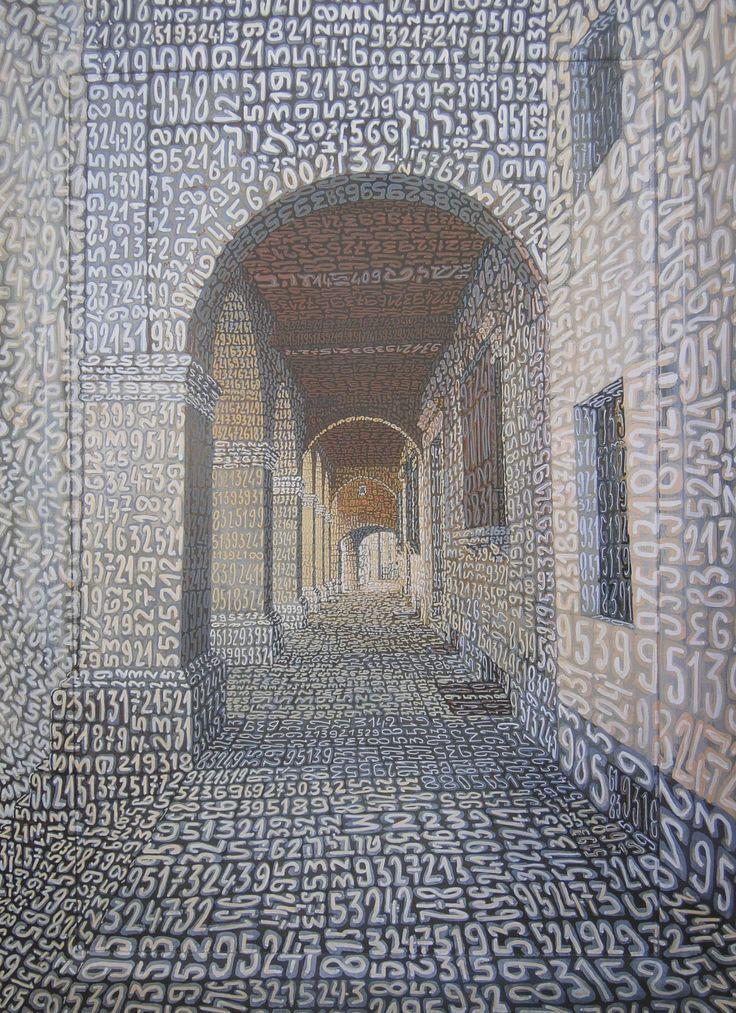 """Tobia Ravà, """"Silenzi dorati"""" 2002 – emulsione e tempera acrilica su tela e tavola – 64,3 x 89,5 – Collezione privata, Londra - CoSA   Contemporary Sacred Art"""