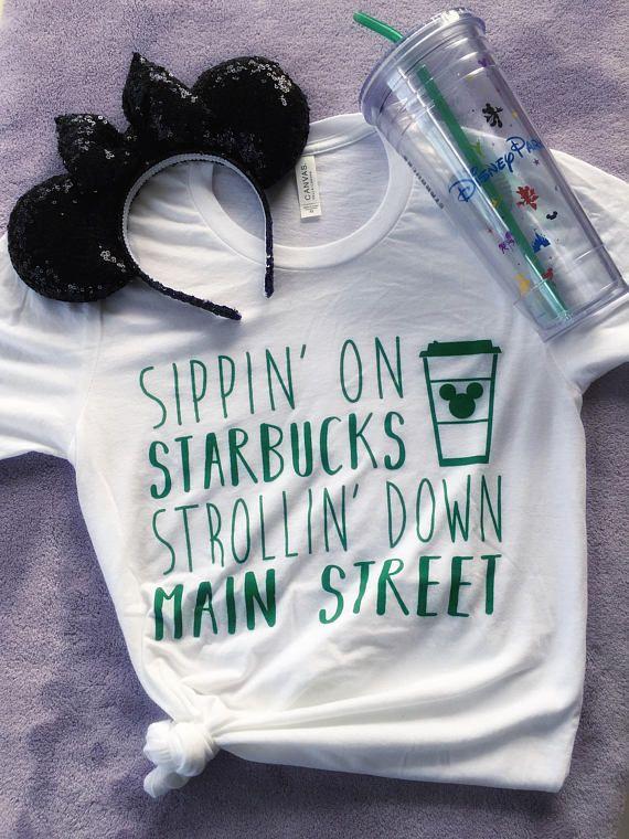 PREORDER FOR June 6-7//Starbucks and Disney//Disney Shirt//Starbucks Shirt//