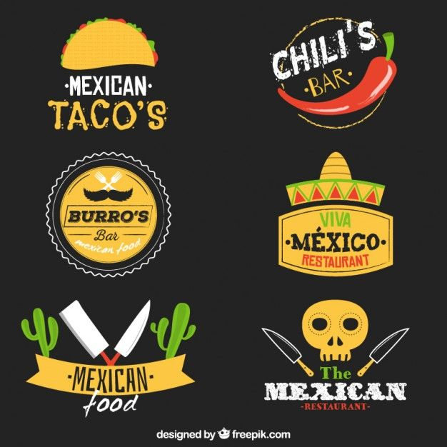 Variety of mexican food logos Free Vector