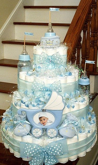 """5-Tier """"It's A Boy"""" Diaper Cake @Kelsey Myers Myers Myers Berger I don't expect anything less then this for my 1st baby!! :-)"""