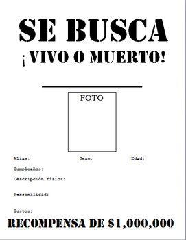 SE BUSCA Wanted Poster : descripcion fisica, personalidad! :)