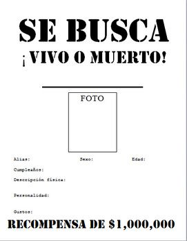 SE BUSCA Wanted Poster : Beginner / Middle School Spanish ...