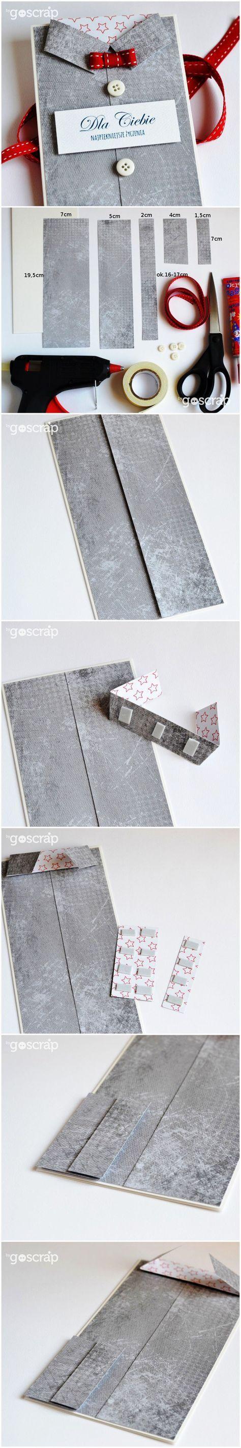 goscrap.plProsty kurs na kartkę-koszulę // An easy course on making shirt-cards » goscrap.pl #goscrap #scrapbooking #tutorial