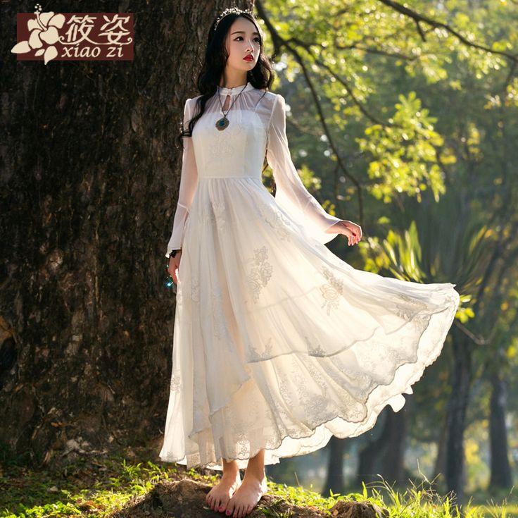 Xiao Zi femeie frumoasă, în primăvara 2015 noul sifon alb de teatru rochie brodată rochie retro