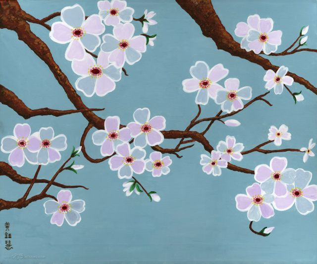 458 best images about arts lottus cherry koy bamboo on for Cherry blossom mural works
