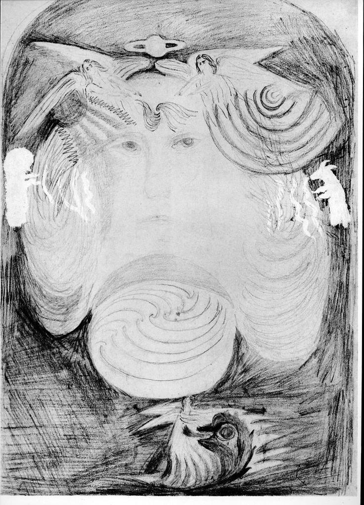 Original pencil sketch by Rudolf Steiner of the motifs of the glass windows originally that were intended for the first Goetheanum but are now installed in the second Goetheanum.