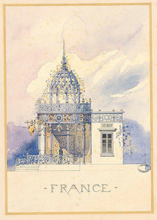 Planche aquarellée représentant le pavillon de la France lors de l'exposition universelle de 1900.  Carton, aquarelle, 50 x 36,5 cm Archives nationales CP/F/12/4445/X © Archives nationales, France