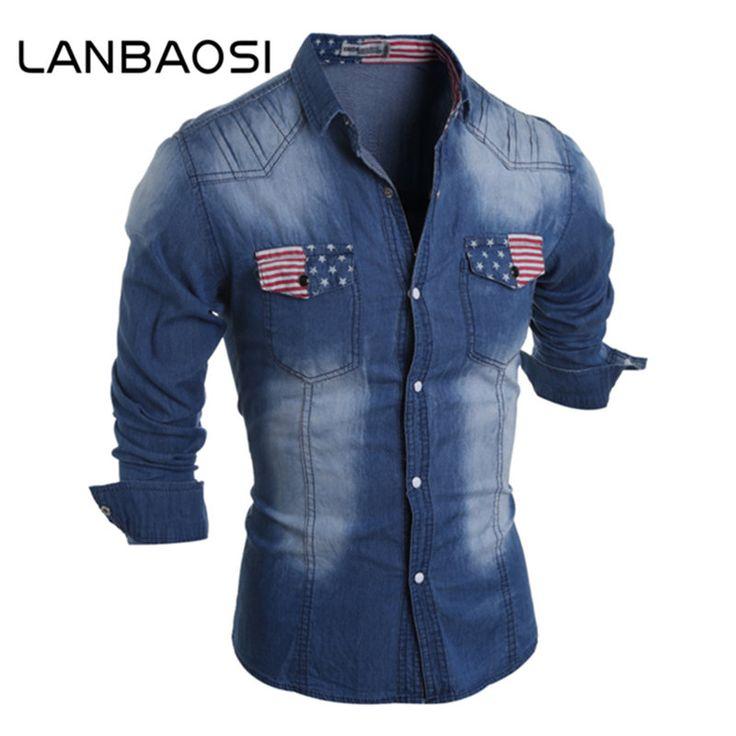 Denim Shirt for Men 2017 New Retro Blue Full Sleeve Cowboy Shirts Mens Slim Fit Tide Men Cotton High Quality Jeans Shirt