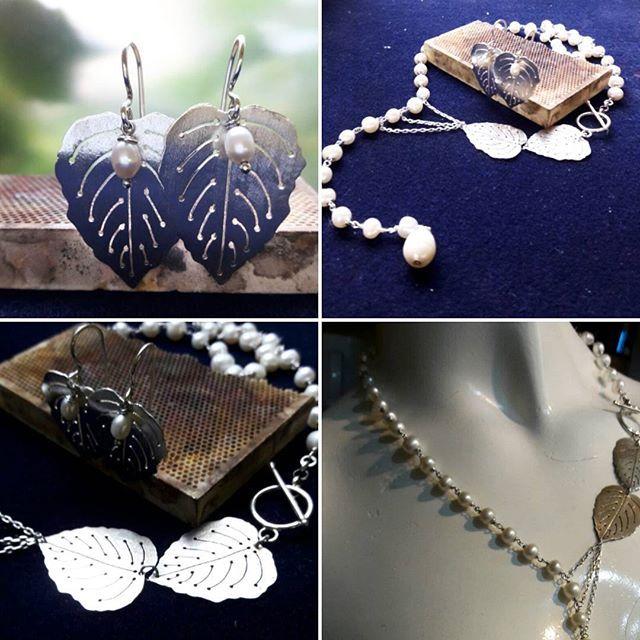 ♢ Nueva colección ♢  ♢ Juego Primavera ♢  Collar asimétrico de perlas y hojas de plata   Par de aros en hoja de plata y perlas    A la venta en nuestra tienda de facebook!    #joyeriachilena #jewelrydesign #silver #pearl #chilenovios #instachile #instasantiago #chilegram #hechoenchile #madeinchile #hechoamano  #handmade