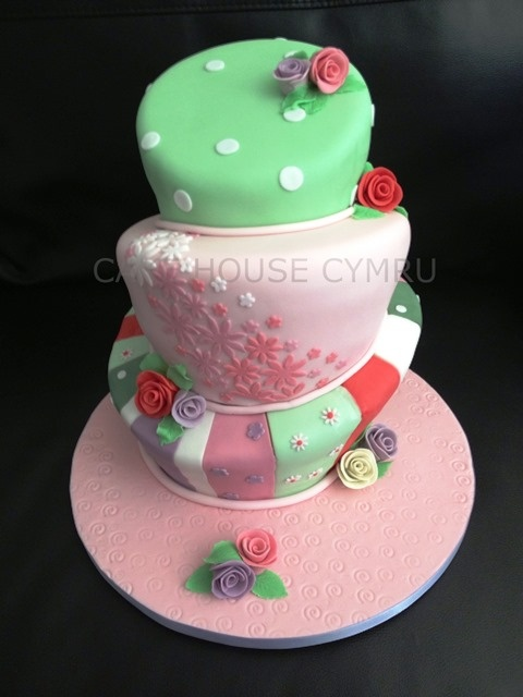 Three tier wonky cake