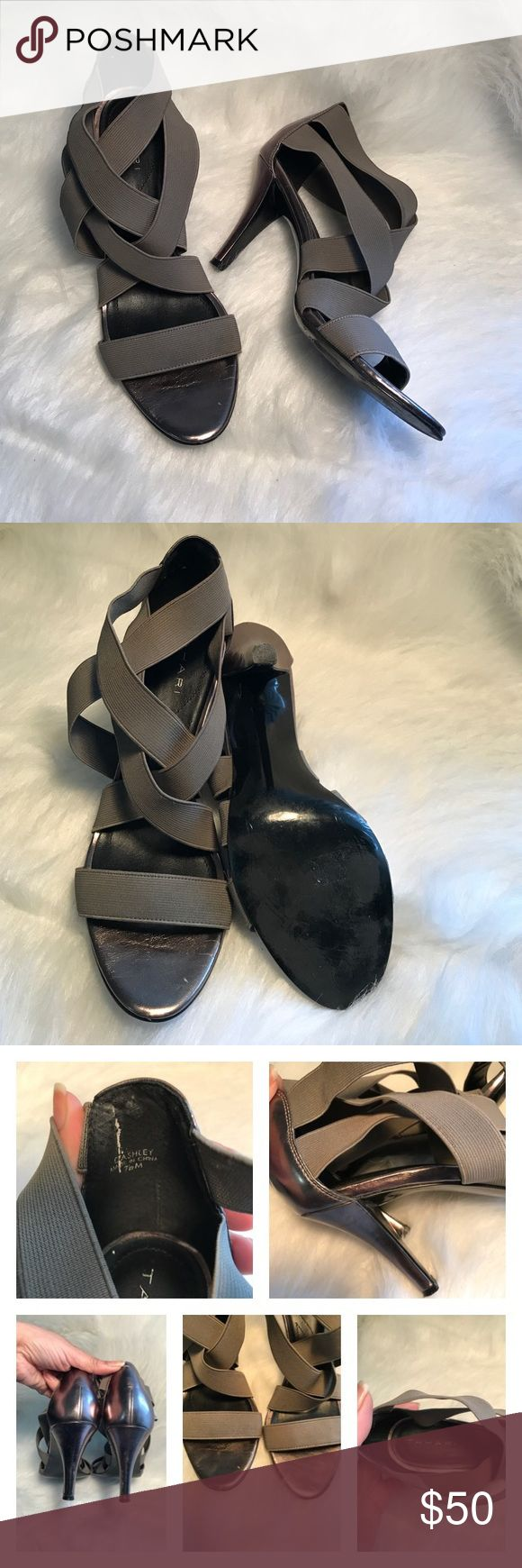 """💜 TAHARI DASHLEY PEWTER SANDALS Gorgeous pewter metallic sandals with cloth strapping! Great with skinny jeans or that little black dress. Great pre-owned condition, with some scuffs. See pic#3/ 3"""" heel. Tahari Shoes Heels"""