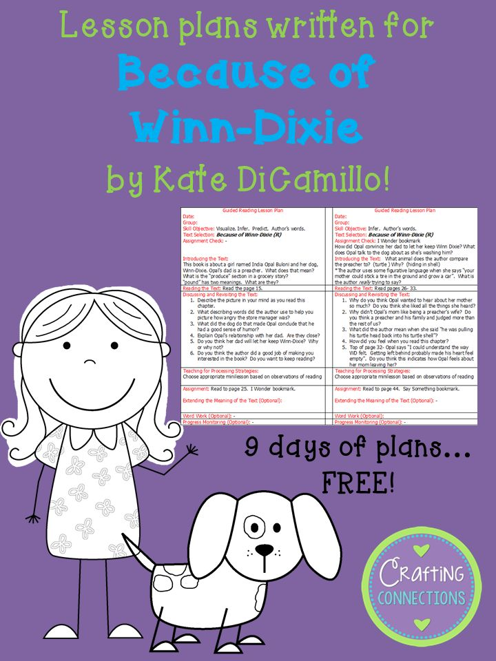 FREE guided reading lesson plans written for the book Because of Winn Dixie! These plans were written for upper elementary grades!