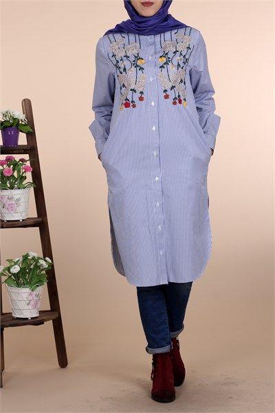 Tesettür Nakışlı Gömlek Tunik 8447 - Mavi Tunik Modelleri- Kirazgiyim