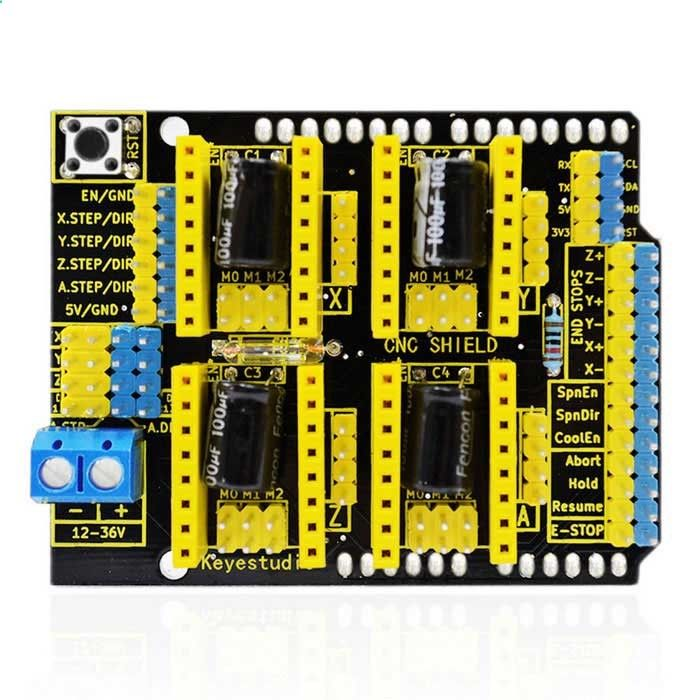 CNC shield V3 Engraver Ezpansion Board for Arduino. Find the cool gadgets at a incredibly low price with worldwide free shipping here. Keyestudio CNC Shield V3 Engraver Board for Arduino - Black   Yellow, 3D Printer Parts, . Tags: #Electrical #Tools #3D #Printer #Supplies #3D #Printer #Parts