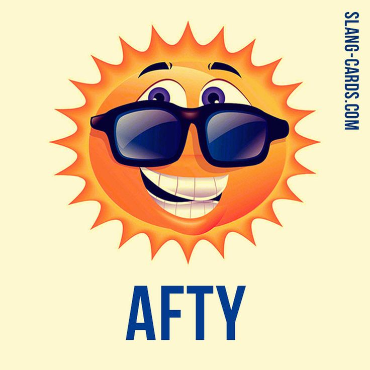 """Hello everybody!  Our #slang word of the day is """"Afty"""", which means """"afternoon"""".  Etymology: Diminutive with -y (aft- + -y.). 1960s; chiefly in """"this afty"""". #englishslang #english #learnenglish"""