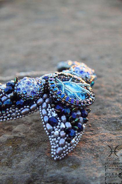 PISCES_Рыбы / Коллекция Знаки Зодиака - бирюзовый,колье с хвостом,рыбий хвост