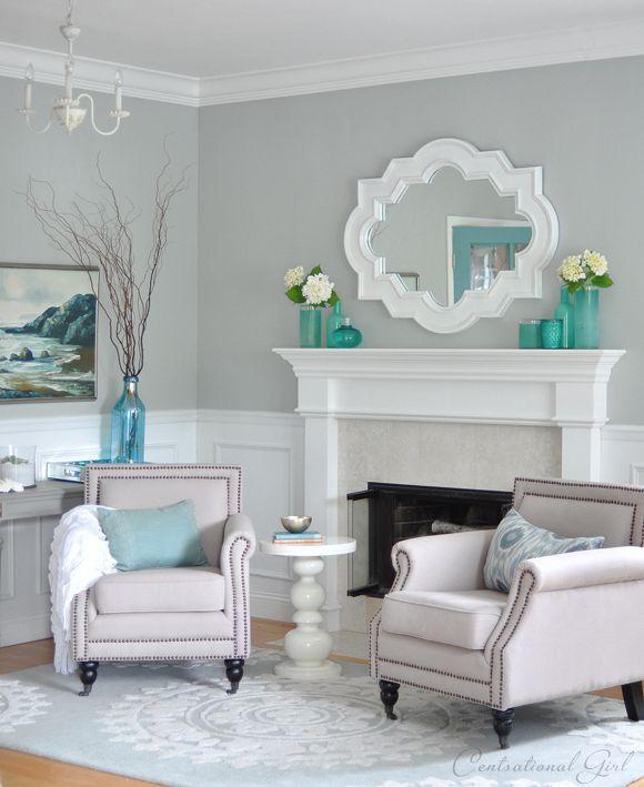 couleur décoration salon gris neutre touches turquoise