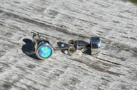 Sterling silver 4mm Opal studs