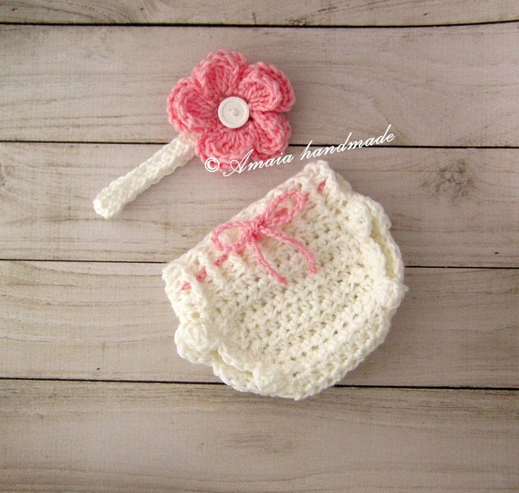 Crochet diaper cover set, diaper cover and headband - Baby girl outfit for Newborn to 12 Months, Great for photo prop or baby shower gift! by Amaiahandmade on Etsy