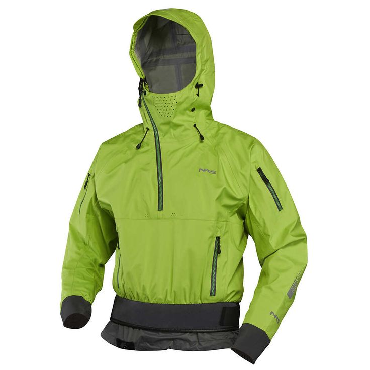 NRS Orion Paddling Jacket ; Sea kayakers seeking the ultimate protection from spray, wind and rogue waves will love the NRS Orion Paddling Top. Its articulated storm hood with face shield helps you cope with the nastiest conditions, and its GlideSkin™ neoprene neck gasket seals out water without the discomfort of latex.