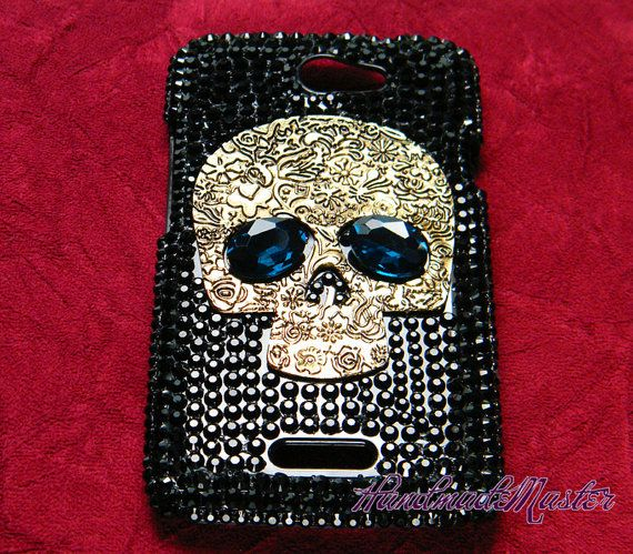Steampunk Skull Rhinestone Black Case for ( The New ) Htc One x / s / v / sv / Vivid Verizon Sprint T-Mbile Phone Case via Etsy