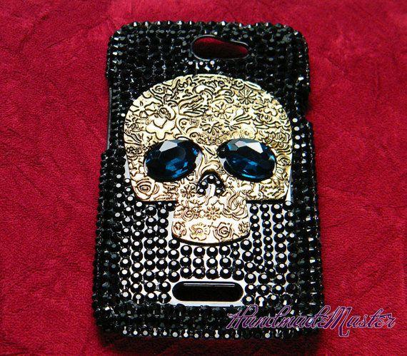 Steampunk Skull Rhinestone Black Case for ( The New ) Htc One x / s / v / sv / Vivid Verizon Sprint T-Mbile Phone Case via Etsy