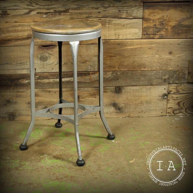 Vintage Industrial Silver Toledo Uhl Art Steel Metal Machinist Workbench Stool