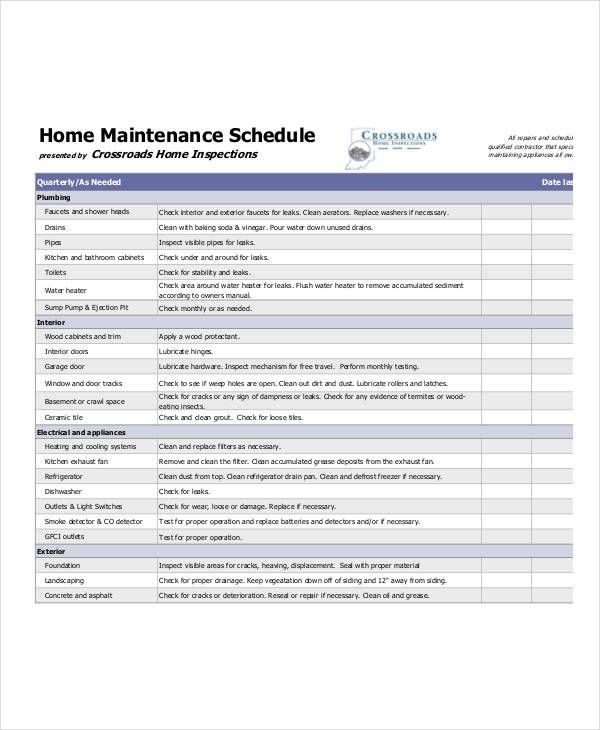 10 Home Maintenance Schedule Templates Home Maintenance