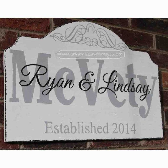 customed envelope shaped diy wooden name sign for home - Ryan & Rindsay, wall decoration