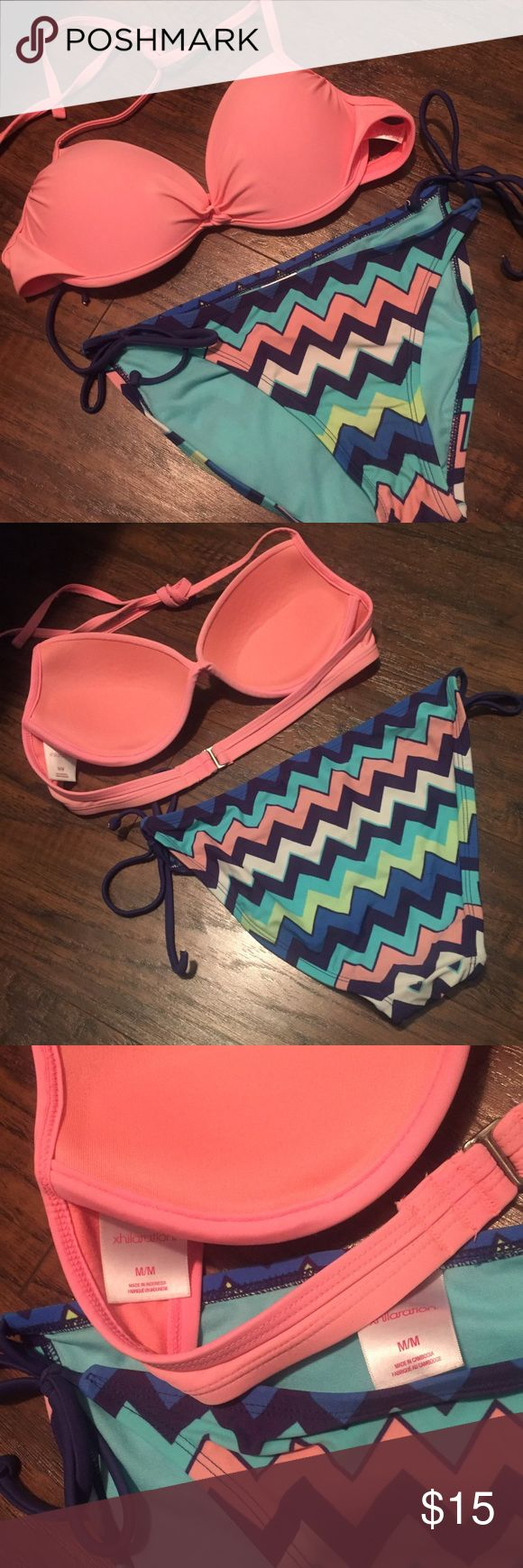 Pink & Chevron bikini Top is size M and has some push up. Bottoms are size M. Worn a handful of times so the top is a little faded but it still looks good. Swim Bikinis