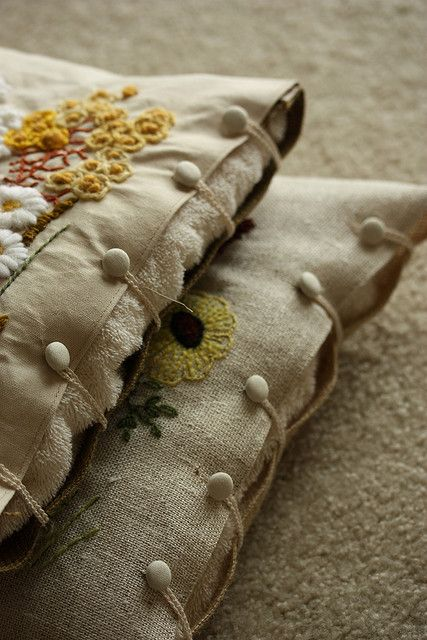 "Great edging idea:  ""pillow covers"" and just put a folded towel or two inside."