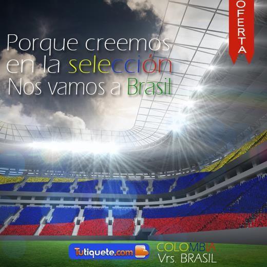 #OfertaÚnica Disfruta el partido Colombia - Brasil desde USD 10.390 http://goo.gl/OnKhNE  ¡Vamos a apoyar a la selección!