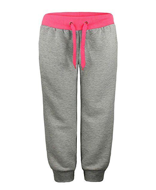 RageIT - Pantalon Survêtement Jogging Pour Enfant Fille Polaire - 13-14 ans, Gris marbré/rose fluo