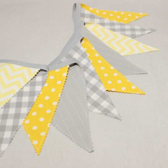 Adorable #bunting double sided made of #gray and #yellow cotton fabrics.  Fabric would add the perfect finishing touch to your babys nursery, childs room or playroom.  It makes also an excellent decoration for wedding.  A reusable decoration for #birthday #parties.  Great #babyshower decor.