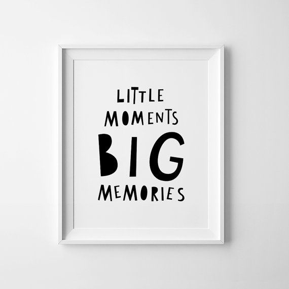 Digitaldruck, bedruckbare Wandkunst Dekor, Kinderzimmer Kunst, kleine Momente, große Erinnerungen, Kinderzimmer Zitat, Baby Kinderzimmer, skandinavischen Druck