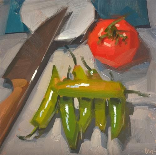"""Daily+Paintworks+-+""""Tomato+Overlord""""+-+Original+Fine+Art+for+Sale+-+©+Carol+Marine"""