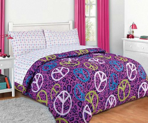 Peace Sign Bedroom Accessories: Girls Bed In A Bag Purple Blue Annie Peace Sign Comforter