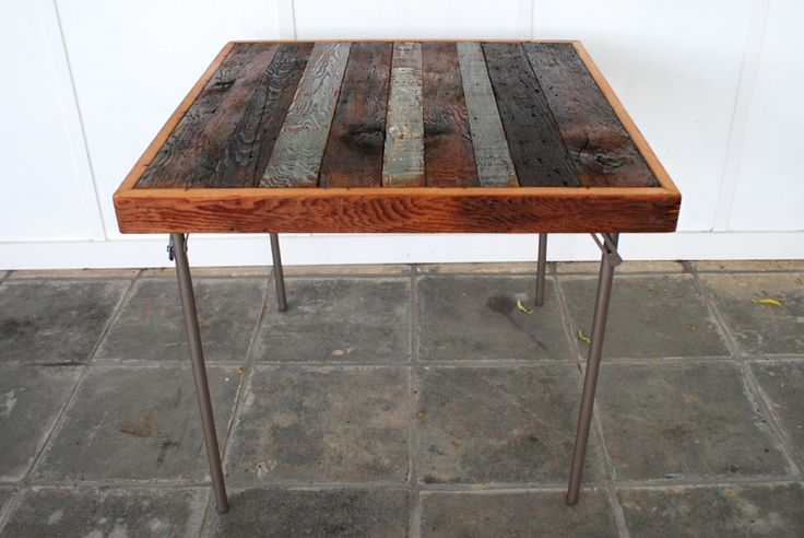 Reclaimed Wood Card Table Makeover @themerrythought