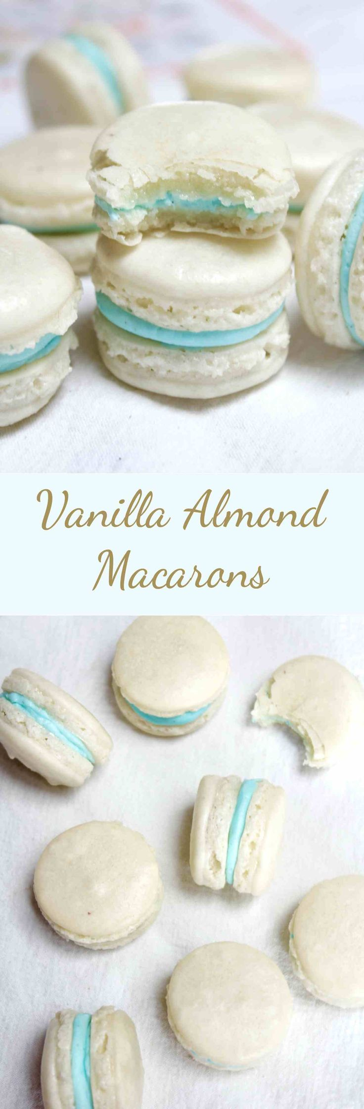 Crispy and sweet almond macarons filled with a vanilla buttercream. An easy recipe for the classic french dessert!