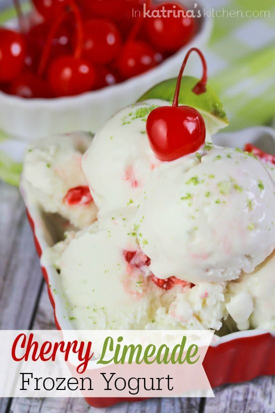 Sweet and tart Cherry Limeade Frozen Yogurt is the perfect afternoon treat. Prepared with protein-packed Greek yogurt this snack will keep you full longer!