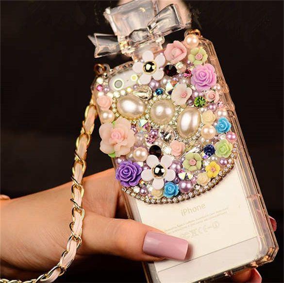 iPhone 6 Plus, 6, 5/5S, 5C - Romantic Pearls & Flowers OR Tear Drop Gem Perfume Bottle Case With Strap - Thumbnail 1
