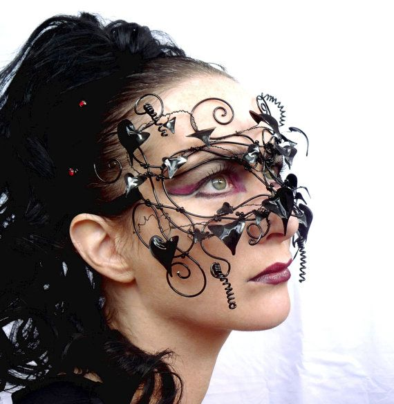 Gothic vine masquerade mask with acrylic by gringrimaceandsqueak, $240.00