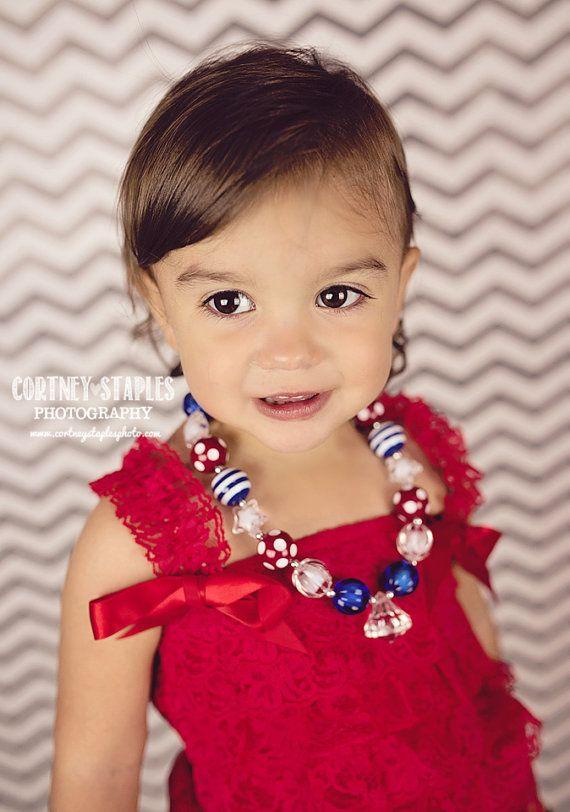 4 juillet collier Chunky filles gumball par BabyBloomzBoutique, $10.95