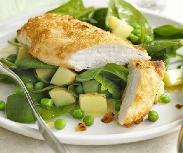 Low FODMAP Recipe- Parmesan spring chicken:  http://www.ibssano.com/low_fodmap_recipe_parmesan_chicken.html