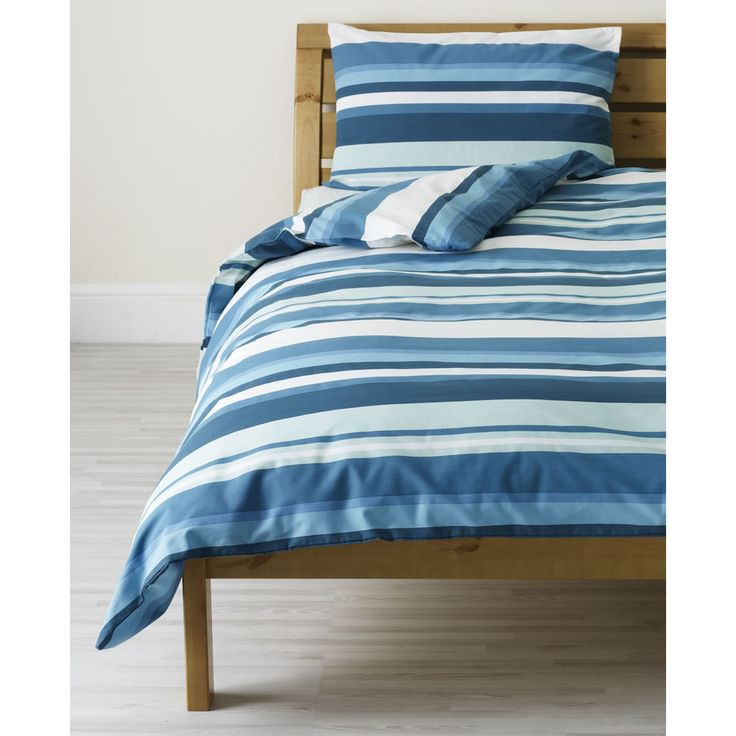 Wilko Blue Stripe Duvet Set Blue Single